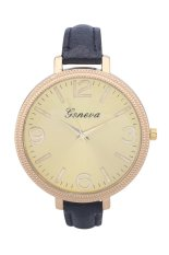 GENEVA Brand Big Gold Dial Small Leather Watch Fashion Ladies Dress Casual Quartz Watch (Rose Red) (Intl)