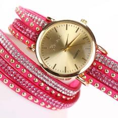 Geneva Jam Tangan Lilit Double Straps Wanita Diamond Hot Pink