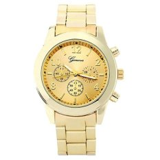 GENEVA Jam Tangan Wanita Analog Fashion Casual Women Strap Stainless Steel Wrist Quartz Watch - Gold