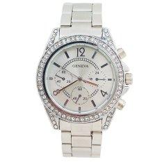 GENEVA Jam Tangan Wanita Analog Fashion Women Diamond Strap Stainless Steel Quartz Wrist Watch