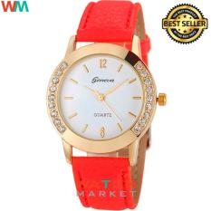 Geneva - Jam Tangan Wanita - Red Gold - Strap Leather - 003