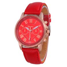 Geneva Leather Cecile Jam Tangan Wanita - Kulit - Merah - Geneva GNV LC 0990 RD