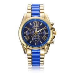 Geneva Luxury Brand Full Steel Watch Ladies Quartz Women Wristwatch (Blue)