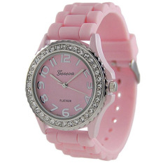 Geneva Platinum CZ Accented Silicon Link Watch, Large Face (Pink)