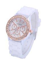 Geneva Silicone Belt Golden Crystal Stone Quartz Jelly Wrist Watch (Black) (Intl)