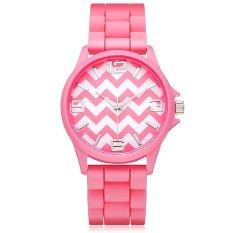 Geneva Women Silicone Lines Patten Quartz Wrist Watch