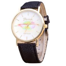 Geneva Women's Fashion Design Dial Leather Band Analog Quartz Wrist Watch Black (Intl)