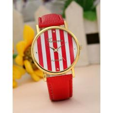 Geneva Women's Faux Leather Stripe Watch Pink-white