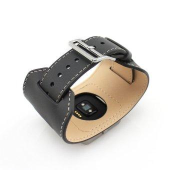 Genuine Leather Strap Cuff Bracelet Leather Watch Bands for Fitbit Blaze Activity Tracker SmartWatch in Dark