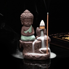 George Store Hot Sell Ceramic Small Buddha Cone Smoke Back-flow Incense Burner Stick Holder Decoration (Color:Green) - intl