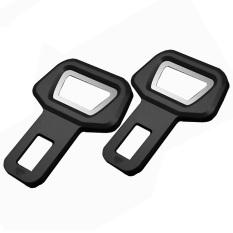 GETEK 2 buah kursi pengaman kendaraan mobil peringatan sabuk gesper sisipkan alarm sumbat + Pembuka (Hitam)