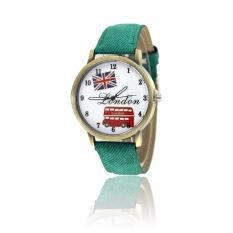 GETEK Unisex American Flag Pattern Leather Band Analog Quartz Wrist Watch (Green)