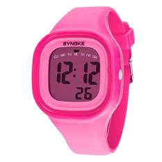 GETEK Waterproof Women Men LED Digital Sports Watches Silicone Sport Quartz Wrist Watches (Pink)