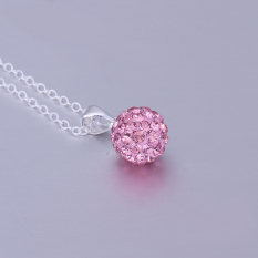 Girl Fashion 10mm Pink Crystal Rhinestone Charm Pendant - Intl
