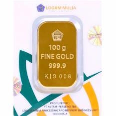 Gold Logam Mulia Antam 100 Gram (Kemasan New Press) - 24 Karat Sertifikat Resmi Antam - Bergaransi - Istimewa - Cetakan Tahun 2017 - Gratis Voucher Carrefour Senilai Rp2.500.000