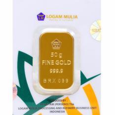 Gold Logam Mulia Antam 50 Gram (Kemasan New Press) - 24 Karat Sertifikat Resmi Antam - Bergaransi - Istimewa - Cetakan Tahun 2017 - Gratis Voucher Carrefour Senilai Rp1.000.000