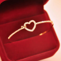 Gold Plated Hollow Love Heart-Shaped Crystal Bangle Female Party Bracelet Gift - Intl