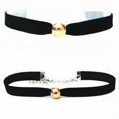 Golden Pearl Luxury Velvet Choker Necklace - Kalung Handmade Mutiara