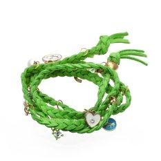 Grass Green PU Leather Braided Bracelet Bangle Bohemian Style Fashion Jewelry - Intl