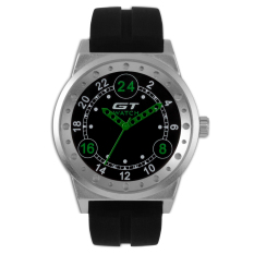 GT WATCH Brand GT3 Collection Auto Racer Sport Black Silicone Strap Stainless Steel Case Japan Analog Movement Wristwatch GT3200 Green (Intl)