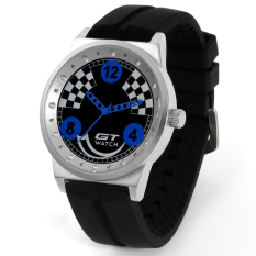 GT WATCH Brand Master Collection Auto Racer Sport Black Silicone Strap Stainless Steel Case Japan Analog Movement Wristwatch GT1000 Blue (Intl)
