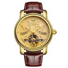 GUANQIN GJ16009fs Automatic Leather Men Watch Tourbillon Calendar Luminous (Gold)