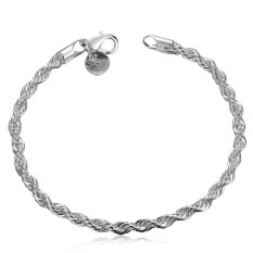 Gyges Free Shipping Jewelry 925 Silver Bracelet 925 Silver Rope Chain Bracelet Fashion Bracelet Twisted Singapore Chain Bracelet (Intl)