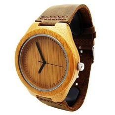 Handmade Wooden Watch Made with Natural Bamboo Wood in BrownLeather Strap - intl
