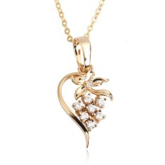 HAOFEI Floral Heart Necklace Girl Crystal Pendant Trendy Accessory Gold Filled