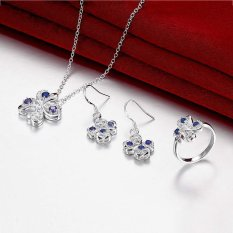Happycat New Women Fashion Popular 925 Silver Plated Jewelry Sets For Sale (Purple) ()
