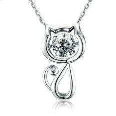 "Heartbeat"" 925 Sterling Silver Dancing Stone With Swarovski Zirconia Kitten Pendant Necklace, 16"" + 2"""