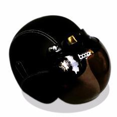 Helm Retro Bogo Kulit Klasik Kaca BOGO Original - Hitam Polos