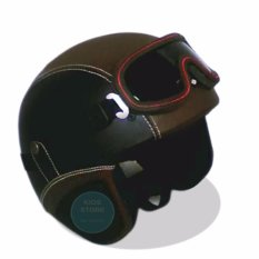 Helm Retro Kacamata Klasik Full Synthetic Leather - Hitam Coklat