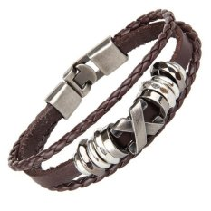 Hequ Men Punk Bracelet Jewelry Genuine Cow Leather Wrap Charm Stainless Steel x Letter Bracelet Style 2 (Coffee) (Intl)