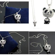HKS Classical Womens Rhinestone Moving Head Panda Pendant Sweater Chain Necklace (Intl)