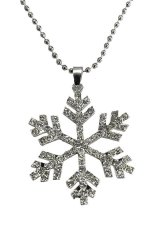 HKS Crystal Snowflake Charm Chain Pendant Necklace Silver (Intl)