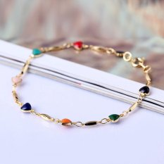 HKS Fashion 18K Gold Plated Bracelet Bangle Multicolor Zircon Heart Bracelet (Intl)