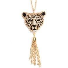 HKS Glaring Leopard Head Pendant Necklace Tassel Rhinestone Sweater Chain (Intl)