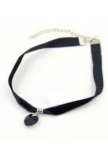 HKS Handmade Necklace Gothic Velvet Heart Crystal Retro Black (Intl)