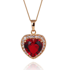 HKS Heart Of Ocean Necklace Woman Zircon Pendant Chain Jewelry Gold Filled (Red) (Intl)