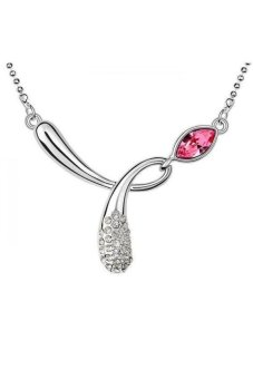 HKS HKS2233Qs Perfect Star Austria Crystal Necklace Rose Red