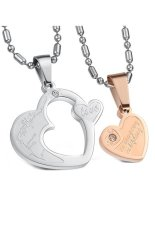 HKS HKS8052790239AI Titanium Steel Heart To Heart Lovers Necklace White and Rose Gold (Intl)