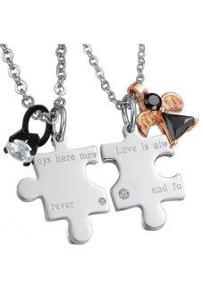HKS HKS8067009372AI Titanium Steel Puzzle Lovers Necklace Black And Rose Gold