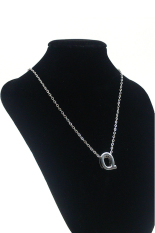 HKS Letter Name Initial Link Chain Charm Pendant Necklace (Silver) (Intl)