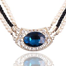 HKS Luxury Multilayer Imitate Pearl Rope Chain Rhinestone Crystal Gem Necklace