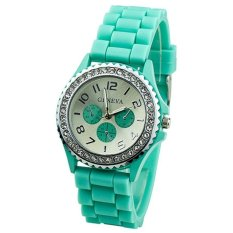 HKS Mint Green Crystals Rubber Silicone Gel Jelly Strap Watch (Intl)