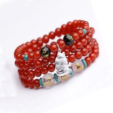 HKS shipping natural red agate beads bracelet zodiac mascot triple silver ring 925 male and female models jewelry bracelets - Ox (agate color message)