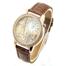 HKS The Relief Of Eiffel Tower Exquisite Diamond Watch Brown (Intl)