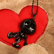 HKS Trendy Big Eye Skull Skeleton Pendant Women Necklace Neck Decoration Black (Intl)