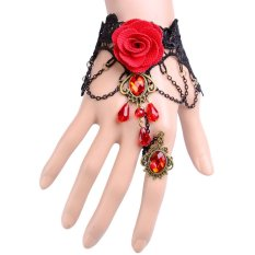 HKS Wedding Lace Chain Bracelets Party Bangles with Rings Halloween (Intl)